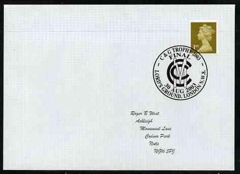 Postmark - Great Britain 2003 cover for C & G Trophy Final with illustrated Lords cancel