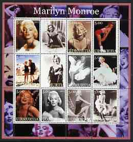 Udmurtia Republic 2002 Marilyn Monroe #1 perf sheetlet containing set of 12 values unmounted mint