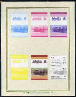 St Lucia 1985 Locomotives #4 (Leaders of the World) 10c '0-6-2 Tank' set of 7 imperf progressive proof pairs comprising the 4 individual colours plus 2, 3 and all 4 colour composites mounted on special Format International cards (as SG 824a)