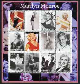 Udmurtia Republic 2002 Marilyn Monroe #2 perf sheetlet containing set of 12 values unmounted mint