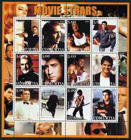 Udmurtia Republic 2002 Movie Stars #2 perf sheetlet containing set of 12 values unmounted mint (S Connery, Nicolas Cage, Stallone & Tom Cruise)