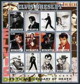 Buriatia Republic 2002 Elvis Presley 25th Death Anniversary #2 perf sheetlet containing set of 12 values unmounted mint