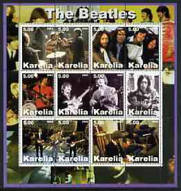 Karelia Republic 2002 The Beatles #1 perf sheetlet containing set of 12 values unmounted mint