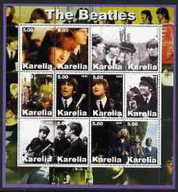 Karelia Republic 2002 The Beatles #2 perf sheetlet containing set of 12 values unmounted mint, stamps on personalities, stamps on music, stamps on pops, stamps on beatles