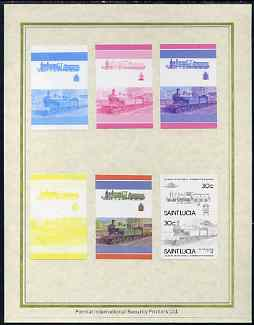 St Lucia 1985 Locomotives #4 (Leaders of the World) 30c 'Class M 4-4-0' set of 7 imperf progressive proof pairs comprising the 4 individual colours plus 2, 3 and all 4 colour composites mounted on special Format International cards (as SG 826a)