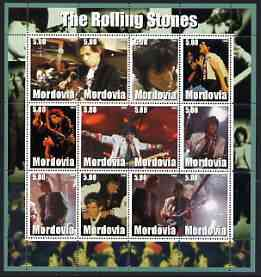 Mordovia Republic 2002 The Rolling Stones #1 perf sheetlet containing set of 12 values unmounted mint