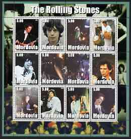 Mordovia Republic 2002 The Rolling Stones #2 perf sheetlet containing set of 12 values unmounted mint