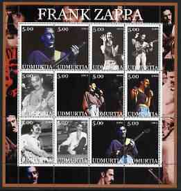 Udmurtia Republic 2002 Frank Zappa perf sheetlet containing set of 12 values unmounted mint