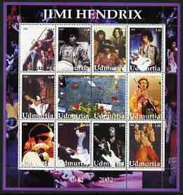 Udmurtia Republic 2002 Jimi Hendrix perf sheetlet containing set of 12 values unmounted mint