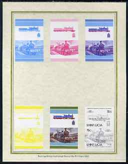 St Lucia 1985 Locomotives #4 (Leaders of the World) 75c 'Dunalastair 4-4-0' set of 7 imperf progressive proof pairs comprising the 4 individual colours plus 2, 3 and all 4 colour composites mounted on special Format International cards (as SG 828a), stamps on railways