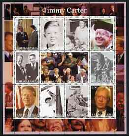 Karakalpakia Republic 2002 Jimmy Carter perf sheetlet containing set of 12 values unmounted mint