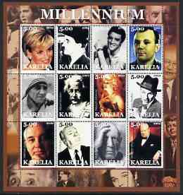 Karelia Republic 2002 Millennium #1 perf sheetlet containing set of 12 values unmounted mint (Diana, Chaplin, Elvis, Mother Teresa, Einstein, Marilyn, Sinatra, Picasso, Churchill, JFK, etc)