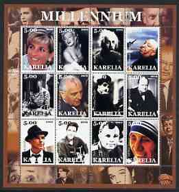 Karelia Republic 2002 Millennium #2 perf sheetlet containing set of 12 values unmounted mint (Diana, Chaplin, Elvis, Mather Teresa, Einstein, Marilyn, Sinatra, Picasso, Churchill, JFK, etc)