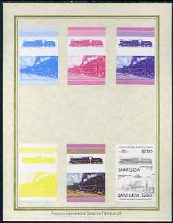 St Lucia 1985 Locomotives #4 (Leaders of the World) $2.50 'Big Bertha 0-10-0' set of 7 imperf progressive proof pairs comprising the 4 individual colours plus 2, 3 and all 4 colour composites mounted on special Format International cards (as SG 830a)