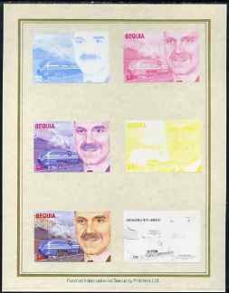 St Vincent - Bequia 1986 Locomotives & Engineers (Leaders of the World) $3.00 (Sir William Stanier & Coronation) set of 7 imperf progressive proofs comprising the 4 individual colours plus 2, 3 and all 4 colour composites mounted on special Format International cards (7 proofs)
