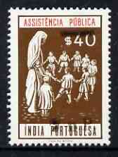 Portuguese India 1961 40c Charity Tax stamp (Children with Nurse) surcharged 7np (prepared for use prior to the invasion but unissued) unmounted mint