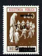Portuguese India 1961 40c Charity Tax stamp (Children with Nurse) surcharged 7np on 7np (prepared for use prior to the invasion but unissued) unmounted mint