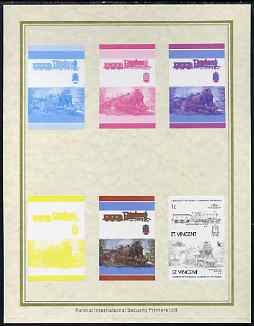 St Vincent 1985 Locomotives #4 (Leaders of the World) 1c (4-4-0 Glen Douglas) set of 7 imperf progressive proof pairs comprising the 4 individual colours plus 2, 3 and al...