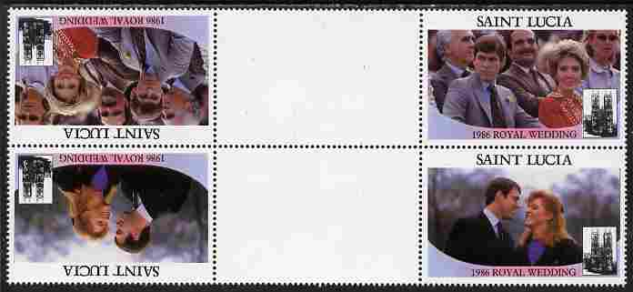 St Lucia 1986 Royal Wedding (Andrew & Fergie) $2 perforated tete-beche se-tenant gutter block of 4 with face value omitted unmounted mint