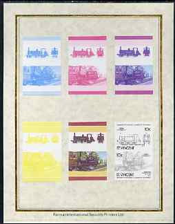 St Vincent 1985 Locomotives #4 (Leaders of the World) 10c (0-6-0 Fenchurch) set of 7 imperf progressive proof pairs comprising the 4 individual colours plus 2, 3 and all ...