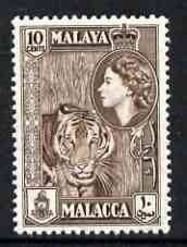 Malaya - Malacca 1957 Tiger 10c brown (from def set) unmounted mint, SG 44*