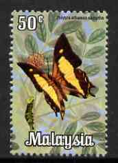 Malaysia 1970 Butterfly 50c (Polyura athamas) from def set unmounted mint, SG 66
