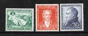 Germany - Allied Occupation - 1949 Birth Bicentenary of Goethe (poet) perf set of 3 unmounted mint SG A148-150
