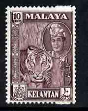 Malaya - Kelantan 1961 Tiger 10c maroon (from def set) unmounted mint, SG 101*