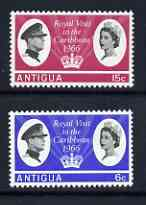 Antigua 1966 Royal Visit perf set of 2 unmounted mint, SG 174-75