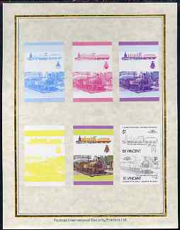 St Vincent 1985 Locomotives #4 (Leaders of the World) $1 (4-6-0 Jones Goods) set of 7 imperf progressive proof pairs comprising the 4 individual colours plus 2, 3 and all...