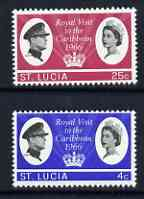 St Lucia 1966 Royal Visit perf set of 2 unmounted mint, SG 220-21
