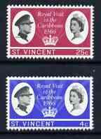 St Vincent 1966 Royal Visit perf set of 2 unmounted mint, SG 250-51