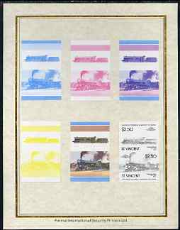 St Vincent 1985 Locomotives #4 (Leaders of the World) $2.50 (4-6-2 Great Bear) set of 7 imperf progressive proof pairs comprising the 4 individual colours plus 2, 3 and a...