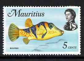 Mauritius 1969-73 Bourse Pufferfish 5c (from def set) unmounted mint, SG 385, stamps on fish