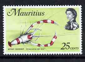 Mauritius 1969-73 Spiny Shrimp 25c chalky paper (from def set) unmounted mint, SG 389