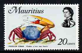 Mauritius 1969-73 Fiddler Crab 20c glazed paper (from def set) unmounted mint, SG 388a