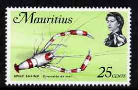Mauritius 1975-77 Spiny Shrimp 25c chalky paper (from def set) unmounted mint, SG 481
