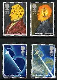 Great Britain 1991 Scientific Achievements perf set of 4 unmounted mint, SG 1546-49, stamps on , stamps on  stamps on science, stamps on  stamps on computers, stamps on  stamps on radar, stamps on  stamps on aviation, stamps on  stamps on personalities, stamps on  stamps on maths