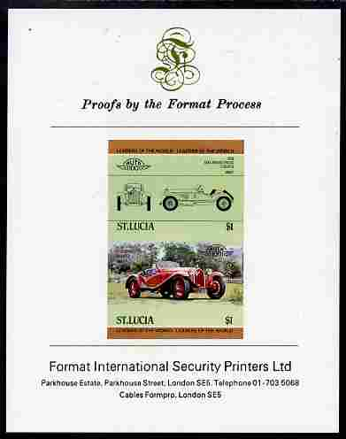 St Lucia 1984 Cars #1 (Leaders of the World) $1 Alfa Romeo (1930) imperf se-tenant proof pair mounted on Format International proof card