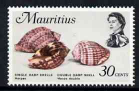 Mauritius 1969-73 Harp Shells 30c glazed paper (from def set) unmounted mint, SG 390a