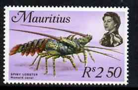 Mauritius 1969-73 Spiny Lobster 2r50 chalky paper (from def set) unmounted mint, SG 397, stamps on marine life, stamps on