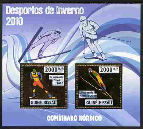 Guinea - Bissau 2010 Winter Olympic Sports - Nordic Combined perf sheetlet containing 2 values in gold unmounted mint