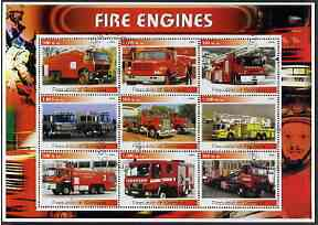 Somalia 2002 Fire Engines #1 perf sheetlet containing set of 9 cto used