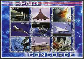 Angola 2002 Concorde & Space perf sheetlet containing set of 9 values cto used
