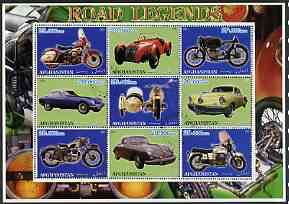 Afghanistan 2001 Road Legends perf sheetlet containing set of 9 values cto used (5 Motorcycles & 4 cars), stamps on motorbikes, stamps on cars
