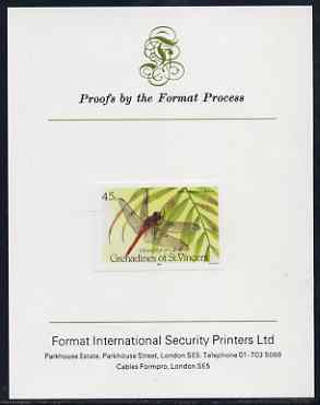 St Vincent - Grenadines 1986 Dragonflies 45c (Brachymesia furcata) imperf proof mounted on Format International proof card