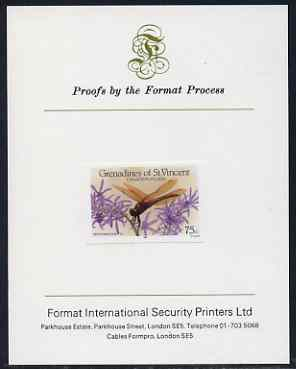 St Vincent - Grenadines 1986 Dragonflies 75c (Perithemis domitta) imperf proof mounted on Format International proof card