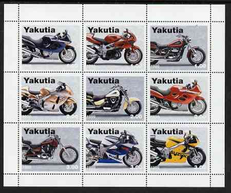 Sakha (Yakutia) Republic 1999 Motorcycles perf sheetlet containing complete set of 9 values unmounted mint