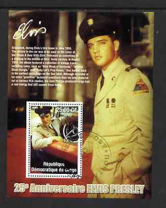 Congo 2002 25th Death Anniversary of Elvis Presley perf souvenir sheet #7 (1958 colour pic of Elvis in GI uniform in car) cto used
