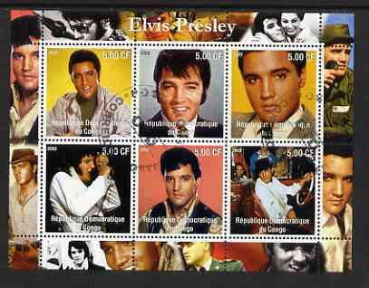 Congo 2002 Elvis Presley perf sheetlet #2 containing set of 6 values cto used